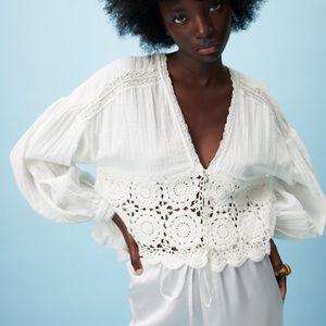 Zara crochet combination top SZ M